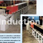 Induction melting furnace in controlled atmosphere for golden ingots production