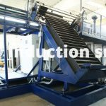 Rolling shutter loader and cooled shaft for pieces introduction and inductors emptying