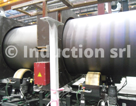 Induction plant for pipes coating