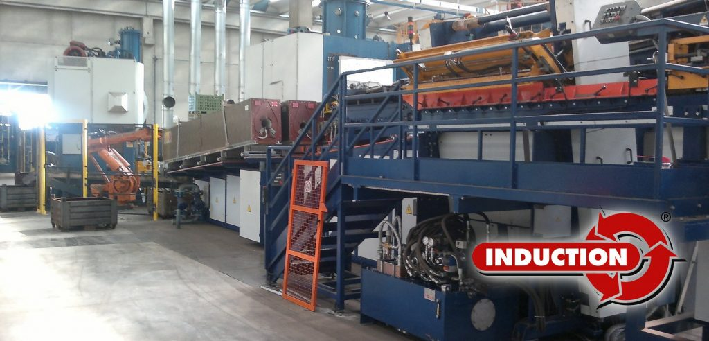 Induction heating plant for steel forging