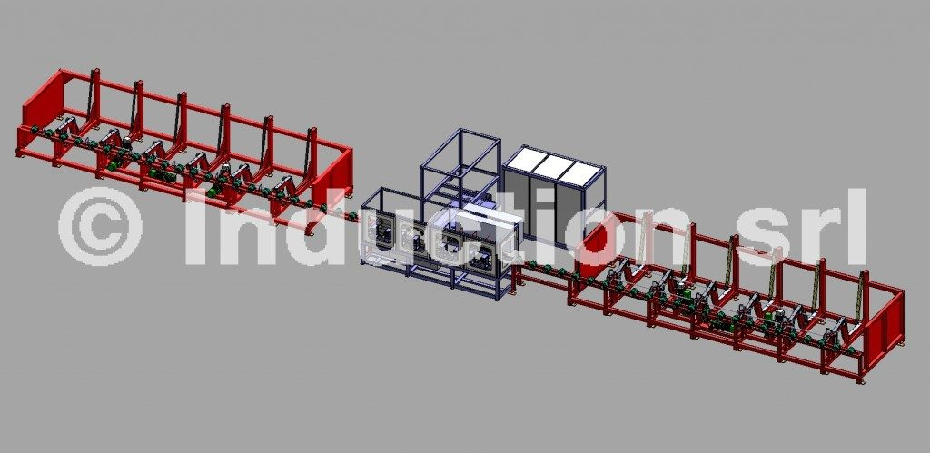 Complete line for induction heat treatment of pipes, tubes and bars