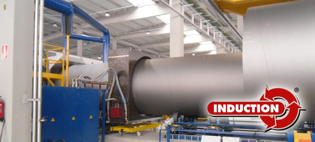 Induction heating for pipes industry coating process