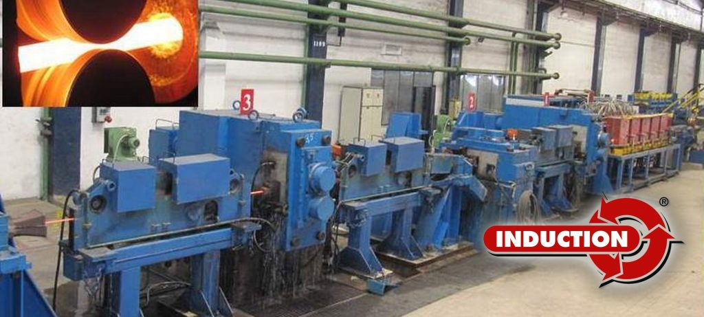 Induction heating plant for hot rolling